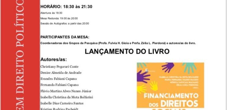 """Lançamento do livro: """"Financiamento dos Direitos Sociais no Brasil"""""""